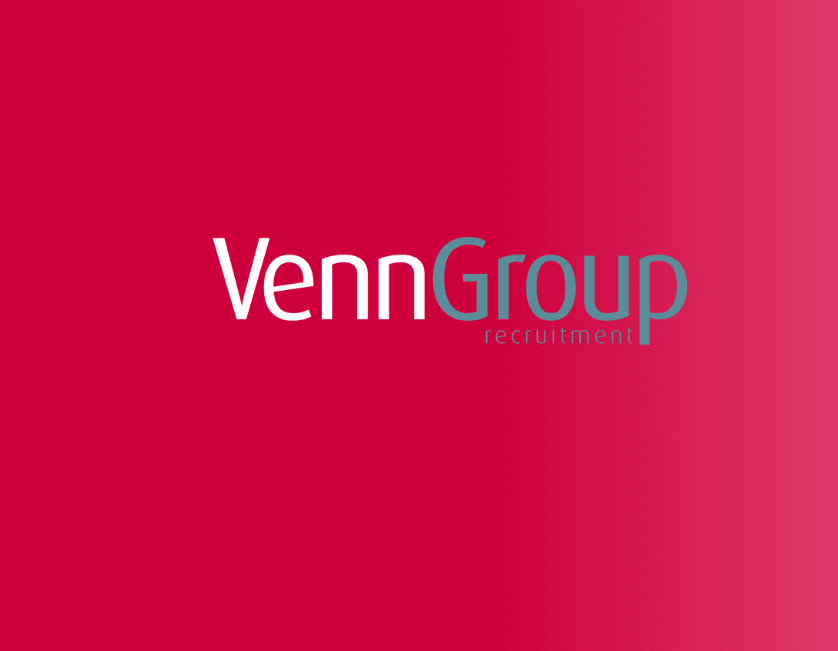 Venn Group logo against a red background